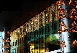 Wholesale Net Factory - Factory 10m*1m 448LEDs lights flashing lane LED String lamps curtain icicle Christmas home garden festival lights AC 110v-220v