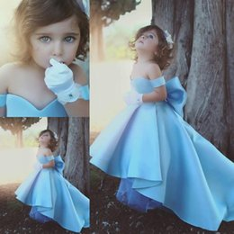Wholesale Toddlers High Low Pageant Dresses - 2018 Long High Low Ball Gown Girls Pageant Dresses Light Sky Blue Satin off the Shoulder Kids Toddler Party Flower Girl Gowns Bow