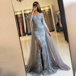 Wholesale Front Zipper Party Dress - Front Split Off The Shoulder Mermaid Evening Party Dresses with OverSkirt Lace Appliques Newest Sweetheart Long Sleeves Pageant Gowns