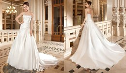 Wholesale Demetrios Mermaid Wedding Dresses - 2015 Wedding Dresses Demetrios 3225 Ivory Silk like Satin Wedding Dress Mermaid Wedding Gowns Court Train Curved Neckline Pleated