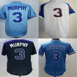 Wholesale Womens Black Shirt Embroidery - Mens Womens Kids Toddlers Atlanta Jerseys #3 Dale Murphy CoopJersey shirt Embroidery logos sportswear Blue White Baseball Jerseys