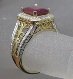 Wholesale Solid Yellow Gold Ruby Ring - Free Shipping Solid 14K Yellow Gold Genuine Natural Blood Ruby Engagement Diamond Ring(R0006)