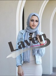 Wholesale Hijab Cotton Shawl - bubble cotton plain shawls 71Colors Big size Islamic hijab spring wrinkle wrap muslim fringe scarves scarf