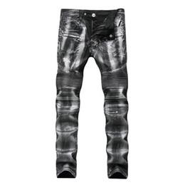 hip hop meio lavagem jeans Desconto Homens Jeans Hi-Street Slim Fit Designer De Zíper Jeans Homens Hip Hop Jeans Médio Joggers Lavado Jeans Destruído