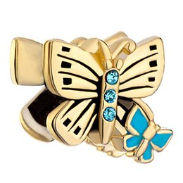 Wholesale nice materials - Alloy Material With gold Plating Nice Hand Blue Enamel Two Butterfly Bead Charm Fit Pandora Bracelet