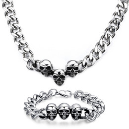 Wholesale Mexican Skull Earrings - Rock Style Personality Men's Gift Biker 316L stainless steel Curb Link Chain Punk Skull Charms necklace + bracelet Jewelry Set