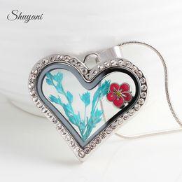 Wholesale Transparent Snake - New Heart Transparent glass crystal floating lockets dry flower plant memory locket silver gold pendants snake necklaces