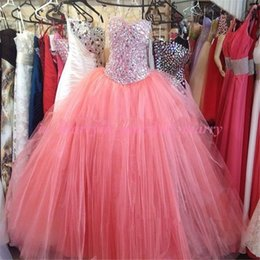 Wholesale Sexy 18 Image - Luxury Pink Rhinestone Crystal Quinceanera Dresses 2015 Ball Gown Sweetheart Beaded Plus Size Sweet 16 18 Brithday Real Images Prom Dresses