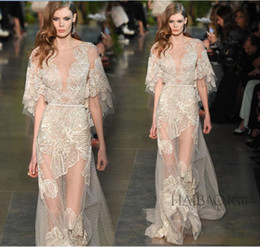 Wholesale Half Sleeve Long Prom Dresses - Real Image 2016 Evening Dresses Elie Saab Formal Long Lace Prom Dresses Ball Gowns With Sheer Illusion Crew Neck Half Long Sleeves