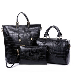 Wholesale multiple bags - 2015 new European luxury crocodile shoulder bag designer handbag multiple portable fashion diagonal three piece PU bag Discount