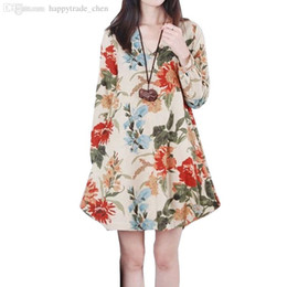 Wholesale knee length dress for pregnant - Wholesale-Dresses Maternity Plus Size Print V-neck Loose Long Sleeve Vestido Para Gravida Clothing For Pregnant Women Pregnancy Clothes