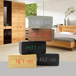 Wholesale Led Digital Desktop Display - Upgrade fashion LED Alarm Clock despertador Temperature Sounds Control LED night lights display electronic desktop Digital table clocks