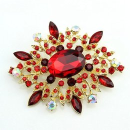 Wholesale Turquoise Coral Pendant - 2016 New Free postage factory direct selling in Europe and America gilded red resin rhinestone pendant brooch brooch retail