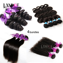Wholesale 16 Inch Kinky Curly Weave - 4 Bundles 8A Unprocessed Peruvian Virgin Human Hair Weaves Body Wave Straight Loose Wave Kinky Curly Natural Color Peruvian Hair Extensions