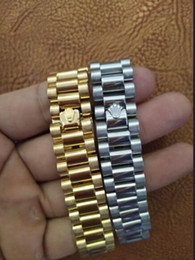 Wholesale Watch Bracelet Links - watch band link chain 15mm Stainless Steel Golden Crown President Style Bracelet Watch Band Strap Solid Links DJ Bracelet Bangle
