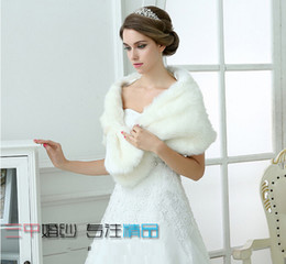 Wholesale Real Steal - Free Shipping White Faux Fur Pearl White Ivory Winter Shrug Capes Stole Wrap Shawl Wedding Bridal 2015 Bride Bridesmaid Cheap Real Image