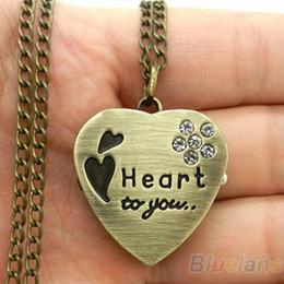 Сладкое сердце старинные ретро цепи карманные часы Кристалл кулон ожерелье женщины Леди девушка подарок 00XA от