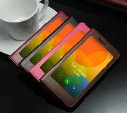 Wholesale Xiaomi Flip Cover - Window For Xiaomi Mi5 M5 Case Cover Luxury Flip Cute Colorful Business Thin Genuine Leather Case For Xiaomi Mi5 Mi5s M5 M5s