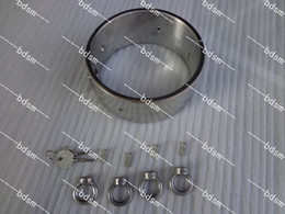 Wholesale Heavy Steel Cuffs - Heavy Duty Stainless Steel 5CM high Steel Locking Slave Collar Collars with 4 rings Neck Bondage BDSM