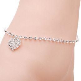 Wholesale Trendy Celebrity Jewelry Wholesale - 2016 Crystal Rhinestone Celebrity Simple Anklets Ankle Bracelet Love Heart Pendant Chain Link Foot Women Party Jewelry