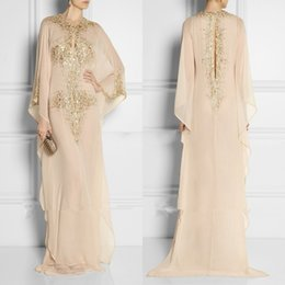Wholesale Art Deco Clothing - 2016 New Long Arabic Crystal Beaded Islamic Clothing for Women Abaya in Dubai Kaftan Muslim Keyhole Neck Evening Dresses Party Prom Gowns