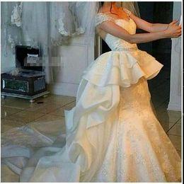Wholesale Sweatheart Backless Wedding Gowns - Latest Charming Mermaid Bridal Dress 2015 Romantic Sweatheart Neck Cap Sleeve Bead Lace Wedding Dress Sweep Train Peplum Ruffle Bridal Gown