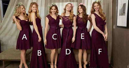 Wholesale Olive Garden Lights - 2018 High Quality Burgundy Lace Bridesmaid Dress Garden Country Formal Wedding Party Guest Maid of Honor Gown Plus Size Custom Made