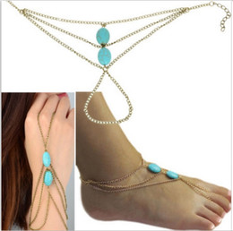 Wholesale Handmade Anklets Toe Ring - ALL-Match Chic Ankle Foot Chain Handmade Toe Link Rings Harness Turquoise Bracelet Lover Tassel Slave Anklets Antique brass Blue