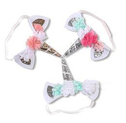 Wholesale Glitter Headbands For Girls - 10 pcs Unicorn Headband For Girls Kids DIY Felt Chiffon Flower Headbands Glitter Hairband princess photography Hair Accessories FJ3151