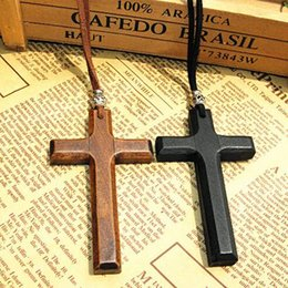 Wholesale Wholesale Men Bead Cross Necklaces - Xmas gifts wood cross pendant necklace tibetan silver bead leather cord sweater chain vintage Vintage women men handmade jewelry 12pcs lot