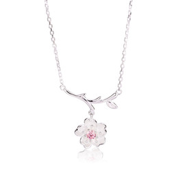 cheap purple necklaces UK - Pink  Purple Cherry Necklace South Korea Sweet Clavicle Chain Flowers Branches Charm Necklace For Women Ladies Girls Cheap Wholesale