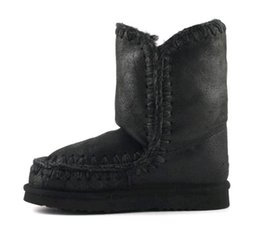 Wholesale Mid Heel Shoes For Women - 2017 Eskimo Overstitch Winter Snow Mid-Calf Boots Real Fur Material Super Warm Platform EVA Sole Shoes For Women