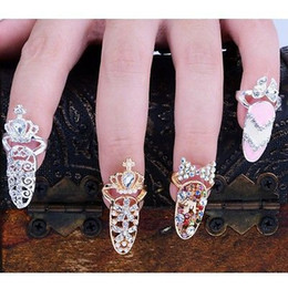 Wholesale Gold Plated Knuckle Rings - Colorful Crown Crystal Finger Nail Art Ring Jewelry Nail Finger knuckle Rings tail ring Butterfly knot crown protect nail alloy Accessory