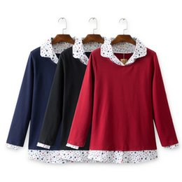 Wholesale Long Cuffed Sweater - Wholesale- New plus size women shirt collar fake sweaters winter pullovers red black cuff fake long sleeve 2017 4XL ladies clothing