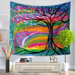 12 цветов живопись деревья шаблон полиэстер гобелен йога пляж одеяло полотенце номер украшения дома груза падения от Поставщики полиэфирные краски