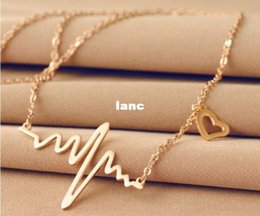 Wholesale Heart Beating Necklace Wholesale - Valentine's Day Heart Beat Pendant Necklace Body Chain Stainless Steel Necklace