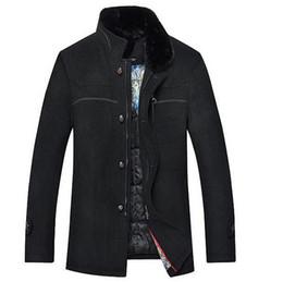 Wholesale Fur Pea Coat - Fall-2015 Fashion Silk Men Jacket Fur Collar Wool Coat Mens Fitted Pea Coat Windbreaker Men's Wool Peacoat Thick Jacket