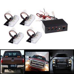 Wholesale Red Strobe Warning Lights - Car 4x3 12 LED Strobe Flash Warning Car Light Firemen Emergency High Power 4*3 Red Blue