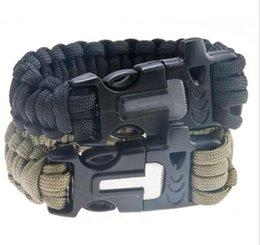 Wholesale Survival Bracelet U Clasp - Survival Bracelets Paracord Parachute Camping Bracelet Stainless Steel U Clasp rescure Escape Life-saving Bracelet Hand Made wristband