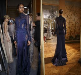 Wholesale Oscar Crystal Dresses - 2016 Real Hot Sale Zipper Formal Evening Dress Lace High Neck Collar Dress Mop Oscar Dress Custom Dark Blue Clothes Bridal Gowns