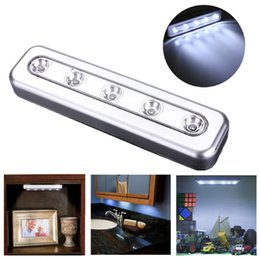 Wholesale Stick Tap Lights - Stick On 5 LED Push Touch Battery Power LED Night Light Kitchen Closet Under Cabinet Wardrobe Push Tap Lamp Bright White