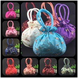 Wholesale cheap coin pouches - Cheap Embroidered Fruit Large Coin Purse Handles Drawstring Satin Fabric Christmas Gift Packing Bag Wedding Birthday Party Storage Pouch