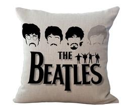 Wholesale beatles pillows - 8 types The Beatles Pillow Case Cotton Linen Square Throw Pillow Cases Cushion Covers Home Sofa pillowcase pillowslip Christmas Gift 240380