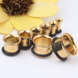 Wholesale Ear Rings Plugs - Gold single flare with O ring ear plugs body piercing jewelry for man woman ear gauges