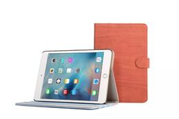Wholesale Ipad Wood Cases - Retro Wood Grain Flip PU Leater Cover Kickstand Folding Folded Cell Phone Stand Case Holder for iPad mini 4