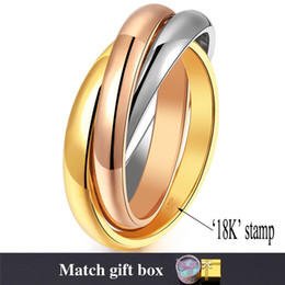 Wholesale Real Engagement Rings - Rolling Ring for Women 2015 New Jewelry Stainless Steel Rose Gold 18K Real Gold Plated Multi-tone Stacked Band Rings