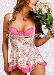 Wholesale Cute Sexy Babydoll - 2014 Women Sexy Cute Pink Floral Lingerie Underwear Babydoll Dress Pajamas
