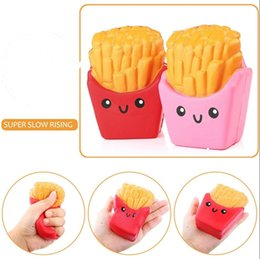 Wholesale Chip French - Squishy Potato Chips Slow Rising French fries Relieve Stress Cake Sweet Food Cell Phone Strap Phone Pendant Key Chain Toy Gift