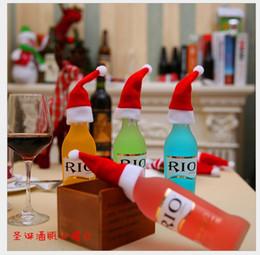 Wholesale Red Bottle Brush - Christmas decorations, Hat Cap brushed Christmas hat knife set decorative bottle Cutlery box wine bottle cap