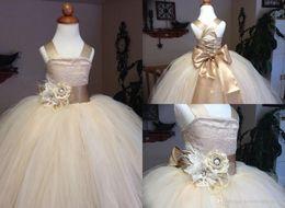 Wholesale Girls Puffy White Bridesmaid Dress - bridesmaid dresses Ball Gown Girls Pageant Dress With Big Bow Champagne Satin Tulle Puffy Flower Girl Dress Kids Wedding Dress